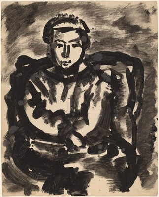 Seated Figure in Armchair with Hands in Lap