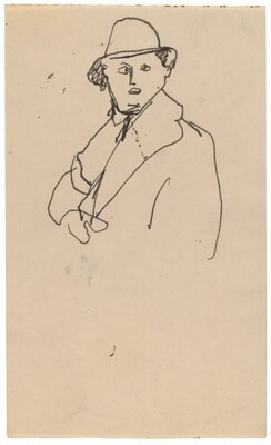Bust-length Sketch of Man in Overcoat and Hat