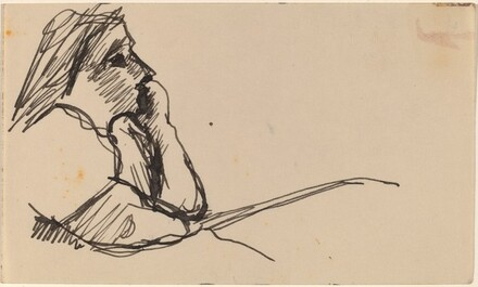 Bust-length sketch of Young Woman Resting Chin on Left Hand, in Profile