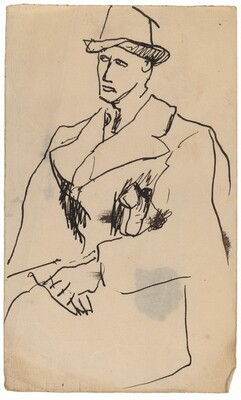 Three-quarters View of Gentleman in Overcoat and Hat, Looking Right