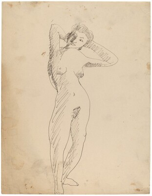 Standing Female Nude in Contraposto Stance with Hands Behind Head
