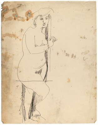 Standing Female Nude, Leaning against Wall with Hands Clasped and Raised