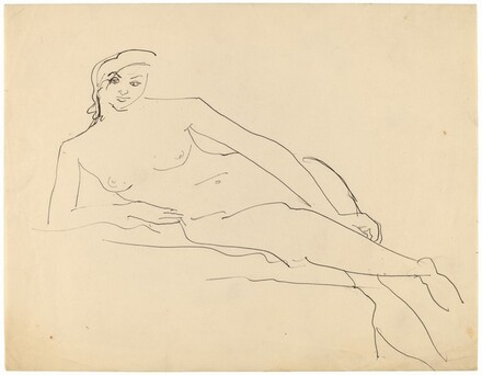 Reclining Female Nude Resting on Right Elbow, Legs Crossed