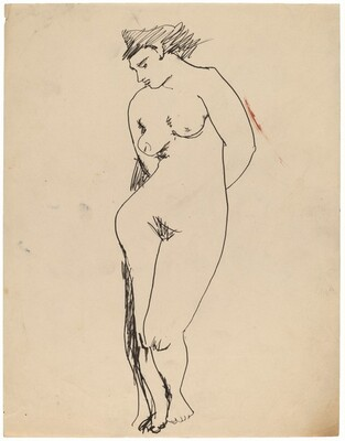 Standing Female Nude Gazing Down, Hands Clasped Behind Back