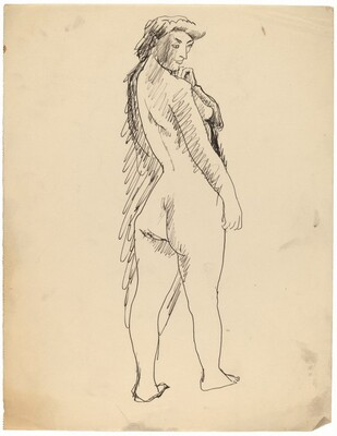 Standing Female Nude Seen from Behind in Three-Quarters View, Left Hand at Chin