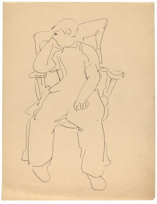 Seated Boy in Armchair, Chin Resting on Right Hand