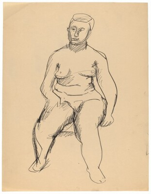 Seated Female Nude, Right Hand on Right Thigh, Frontal View