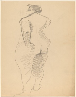 Rear View of Standing Female Nude, Right Arm Bent, Looking Left
