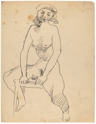 Seated Female Nude, Legs Spread, Hands on Chair Seat