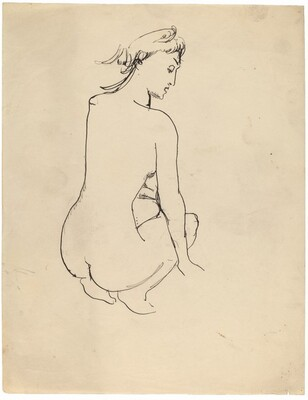 Crouching Female Nude Seen from Behind, Face Looking Down to Right