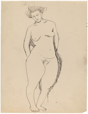 Standing Female Nude, Arms Behind Back, Gazing Down to Right