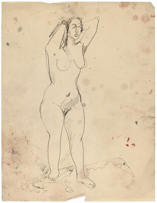 Female Nude Standing on Carpet, Hands Behind Head