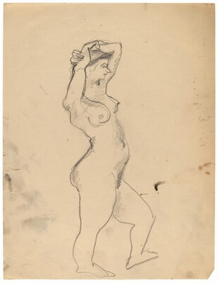Standing Nude Facing Right, Arms Folded on Top of Head