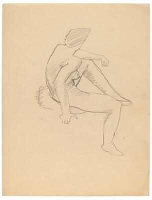 Seated Female Nude Facing Right, Head Turned Left