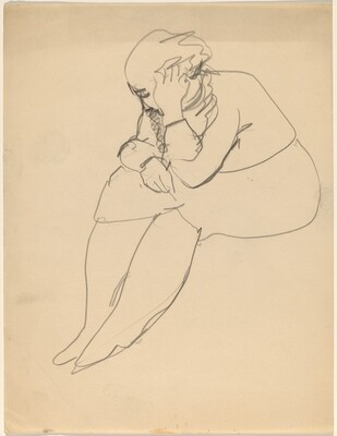 Seated Woman with Head Resting in Hand