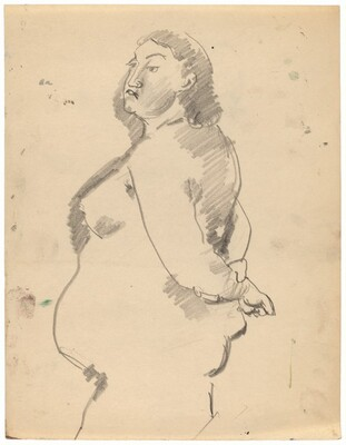Standing Female Nude Facing Left, Hands Clasped Behind Back