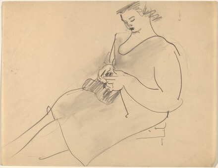 Seated Woman, Hands Clasping Object in Lap