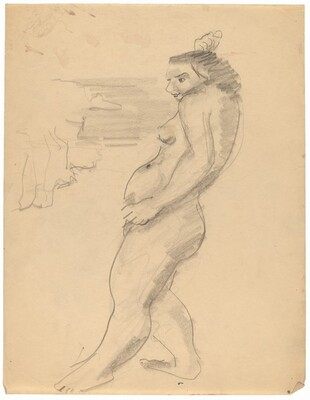 Standing Nude Facing Left, Right Hand above Head