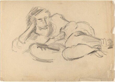 Reclining Female Reading a Book, Head Resting on Hand