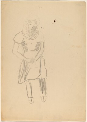 Standing Woman Looking Down, Hands Clasped