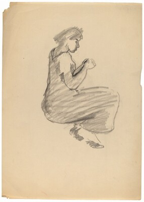 Seated Woman in Long Dress, Hands Clasped in Lap