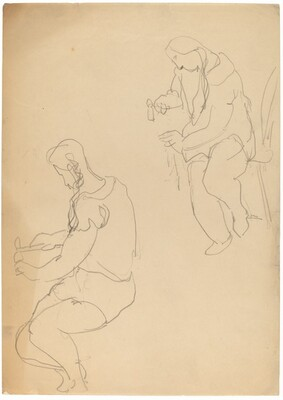 Studies of a Seated Figure Using a Hammer
