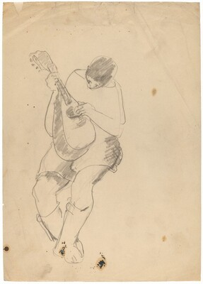 Seated Figure Playing a Lute