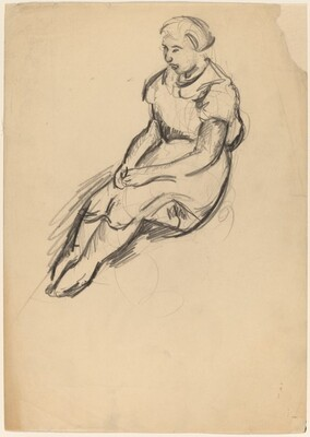 Seated Woman with Legs Extended and Hands Clasped in Lap
