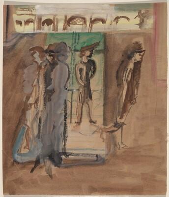 Figures Standing Near a Door