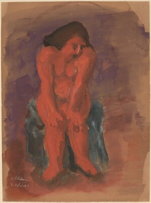 Seated Nude with Hands Resting on Knees