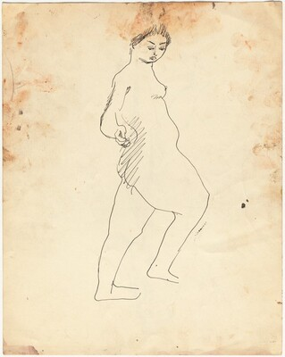 Standing Female Nude Facing Right [verso]