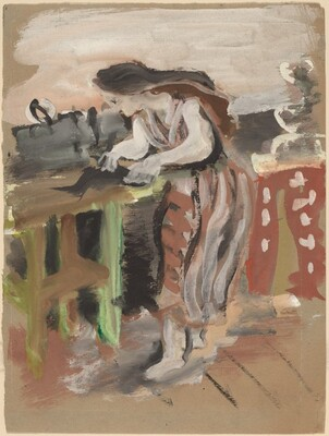 Woman Standing Near a Table