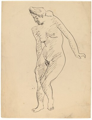 Standing Female Nude with Head Turned Left