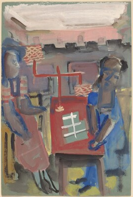 Two Figures Seated at a Red Table
