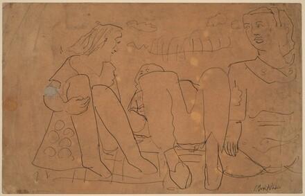 Three Figures Seated on a Blanket
