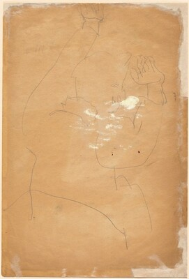 Rear View of a Seated Figure with Arms Raised Above Head [verso]