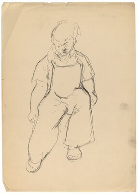 Seated Boy Wearing Overalls
