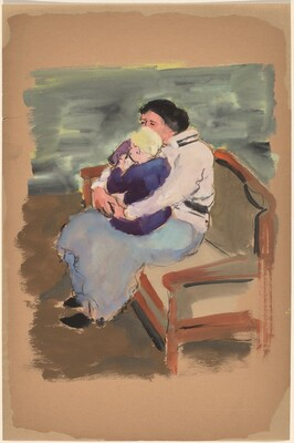 Woman Seated on a Sofa with a Child on Her Lap
