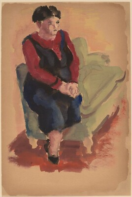 Woman Seated on the Arm of a Green Sofa