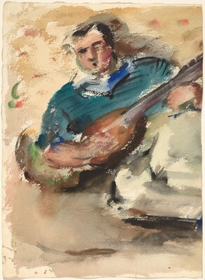 Man Playing a Stringed Instrument [verso]