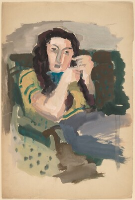 Seated Woman with Long Hair
