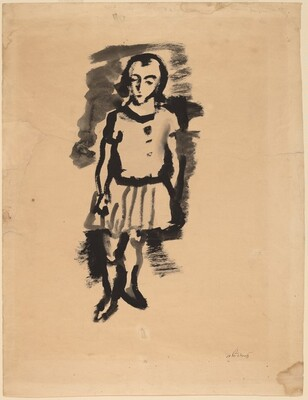 Standing Woman Wearing a Pleated Skirt