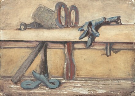 Untitled (still life with mallet, scissors and glove)