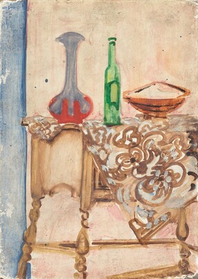 Untitled (still life with vase and bottle)