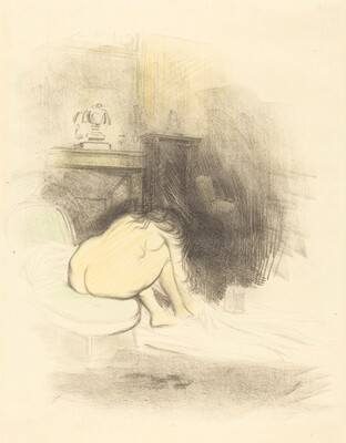 Nude Woman Drying Her Feet (vertical plate)