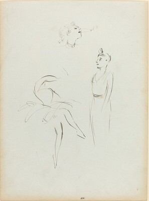 Three Sketches: Dancer and Two Women