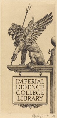 Bookplate of Imperial Defence College Library
