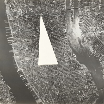A Photo of Central Manhattan with the Area between the Plaza Hotel, the Chelsea Hotel, and the Gramercy Park Hotel Cut Out
