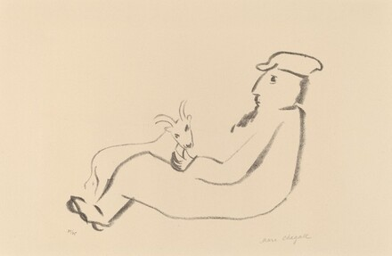 Man Seated with Goat