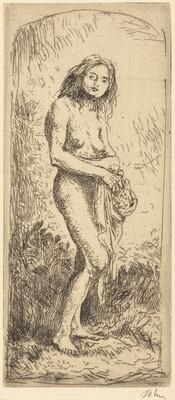 Nude Girl Standing, Looking Up